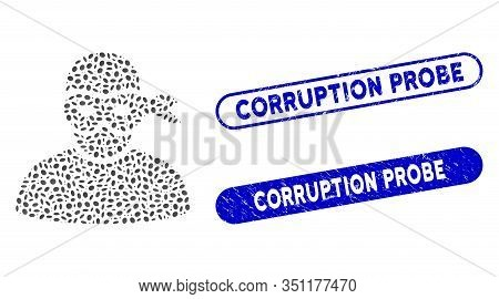 Collage Anonimious Thief And Rubber Stamp Seals With Corruption Probe Caption. Mosaic Vector Anonimi