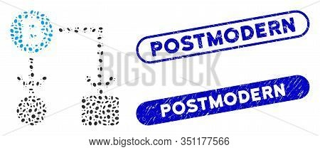 Mosaic Bitcoin Cashflow And Rubber Stamp Seals With Postmodern Caption. Mosaic Vector Bitcoin Cashfl