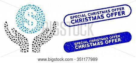 Mosaic Financial Maintenance Hands And Rubber Stamp Watermarks With Special Christmas Offer Caption.