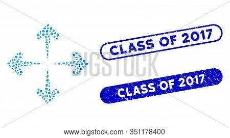 Mosaic Expand Arrows And Grunge Stamp Watermarks With Class Of 2017 Phrase. Mosaic Vector Expand Arr