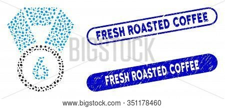 Mosaic 6th Place Medal And Rubber Stamp Seals With Fresh Roasted Coffee Caption. Mosaic Vector 6th P