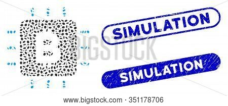 Mosaic Bitcoin Chip And Corroded Stamp Watermarks With Simulation Text. Mosaic Vector Bitcoin Chip I