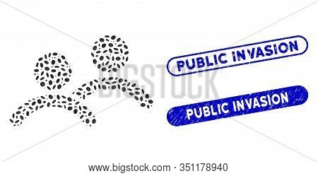 Mosaic Men And Rubber Stamp Seals With Public Invasion Caption. Mosaic Vector Men Is Composed With R