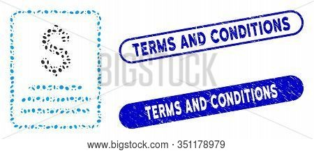 Mosaic Invoice And Distressed Stamp Seals With Terms And Conditions Caption. Mosaic Vector Invoice I