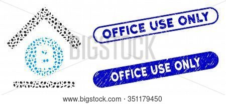 Mosaic Bitcoin Bank Roof And Rubber Stamp Seals With Office Use Only Caption. Mosaic Vector Bitcoin