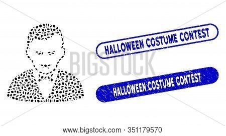 Mosaic Vampire And Grunge Stamp Seals With Halloween Costume Contest Caption. Mosaic Vector Vampire