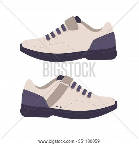 Sporty Modern Sneaker Cycling Shoes. Fitness Healthy Colorful Sport Styling Footwear. Flat Simple Ca