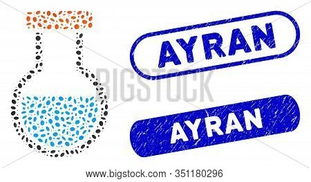 Mosaic Phial And Grunge Stamp Seals With Ayran Phrase. Mosaic Vector Phial Is Created With Randomize