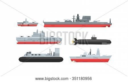 Naval Combat Ships Collection, Military Boat, Frigate, Battleship And Submarine Vector Illustration