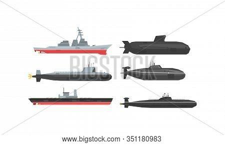 Naval Combat Ships And Submarines Collection, Military Boats, Frigates, Battleships Vector Illustrat