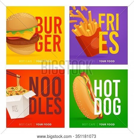 Social Media Post Template On Theme Fast Food. Set Of Banners Square Shape On Theme Food. Design Of