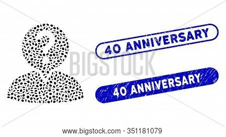 Mosaic Student And Grunge Stamp Seals With 40 Anniversary Text. Mosaic Vector Student Is Composed Wi