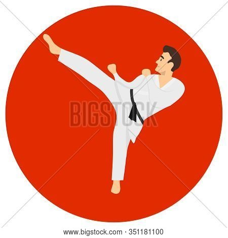 Male Karate Kicks. A Man In A White Kimono With A Black Belt On A Red Background. Vector Illustratio