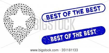 Mosaic Star Map Marker And Corroded Stamp Seals With Best Of The Best Caption. Mosaic Vector Star Ma