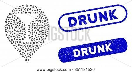 Mosaic Wine Bar Marker And Corroded Stamp Seals With Drunk Text. Mosaic Vector Wine Bar Marker Is Fo