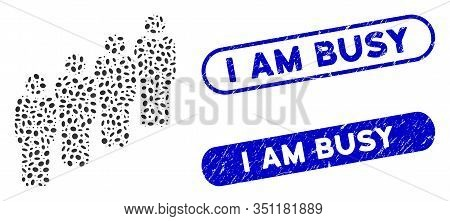 Collage Queue And Distressed Stamp Seals With I Am Busy Caption. Mosaic Vector Queue Is Designed Wit