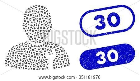 Mosaic Serviceman And Rubber Stamp Watermarks With 30 Caption. Mosaic Vector Serviceman Is Composed