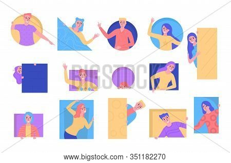 Curious People Peeping Set, Young Men And Women Looking Out Of Geometric Figures Vector Illustration