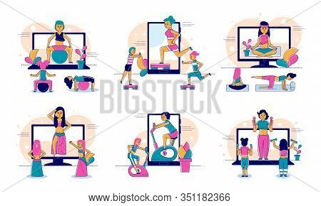 Online Sport And Fitness, Lifestyle, Online Trainer Web Technology And People Concept Line Vector Il