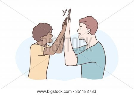 Friendship, Informal Greeting Concept. Illustration Of International Friendship. Informal Greeting,