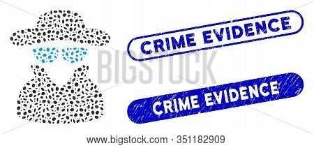 Mosaic Spy And Corroded Stamp Seals With Crime Evidence Text. Mosaic Vector Spy Is Designed With Sca