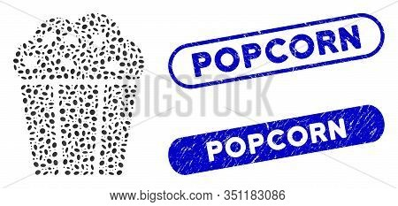 Mosaic Popcorn Bucket And Distressed Stamp Seals With Popcorn Text. Mosaic Vector Popcorn Bucket Is