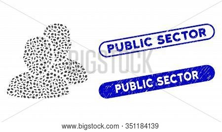 Mosaic Users And Distressed Stamp Seals With Public Sector Caption. Mosaic Vector Users Is Designed