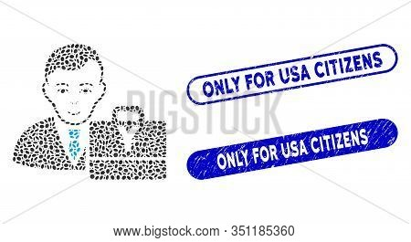 Mosaic Yuan Accounter And Corroded Stamp Seals With Only For Usa Citizens Phrase. Mosaic Vector Yuan