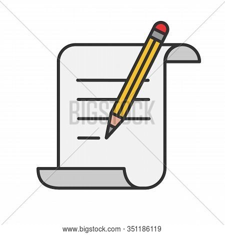 Paper Scroll With Text And Pencil Color Icon. Handwriting. Document, Certificate, Manuscript. Isolat