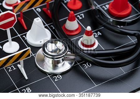 Medical Health Check Schedule Or Reserve Health Time Management Concept, Doctor Stethoscope With Bus