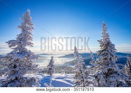 Sheregesh Kemerovo Region Ski Resort In Winter Dawn Sun On City, Landscape On Mountain And Hotels, A