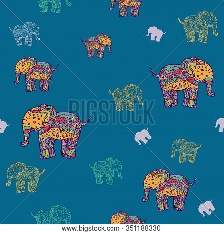Seamless Pattern Of Multicolored Elephants Elephants. Background Childrens Pattern. Background Of Cu