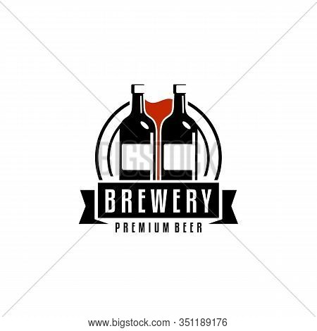 Craft Beer Company Badge, Sign Or Label. Vector Illustration. Vintage Design For Winery Company, Bar