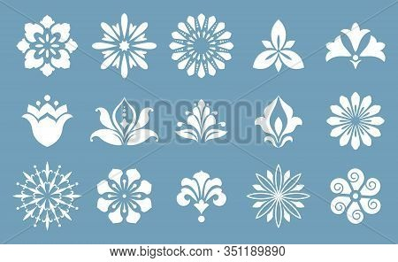 Collection Of Different Stylistic Flowers In Blue And White .vector Graphic.