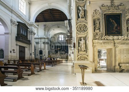 Lecce Apulia Italy On October 14, 2019 In The Historic Church Of Sant Irene The Theatine