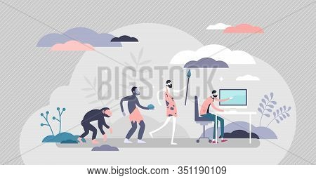 Evolution Steps From The Cave Men To Modern Human With Computer,flat Tiny Person Vector Illustration