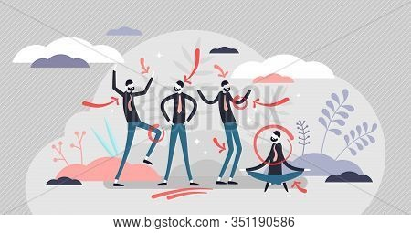 Body Language Concept, Flat Tiny Person Vector Illustration. Human Gesture Expressions Reading And P
