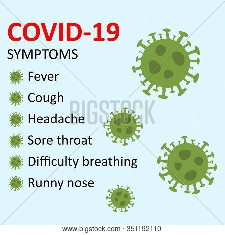 Symptoms Of New Covid-19 Wuhan Novel Coronavirus 2019-ncov. Concept Of Coronavirus Covid Ncov Biohaz