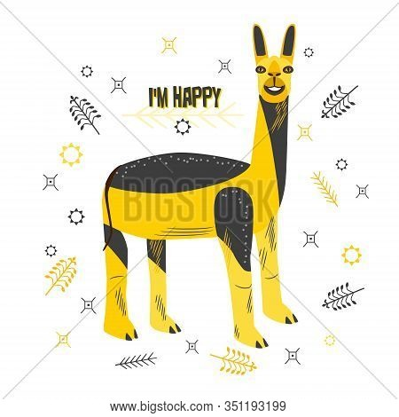 Cartoon Character Of A Happy Lama. Funny Animal Of Yellow-black Color With A Satisfied Facial Expres
