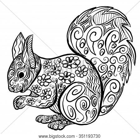 Vector Zentangle Coloring Squirrel. Anti Stress Coloring Book Page. Coloring For Adults - Zentangle