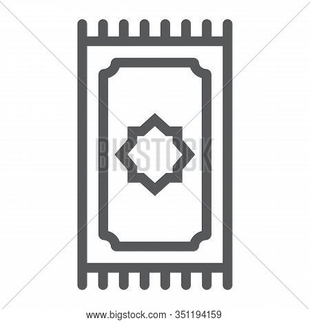 Prayer Rug Line Icon, Ramadan And Islam, Prayer Carpet Sign, Vector Graphics, A Linear Pattern On A