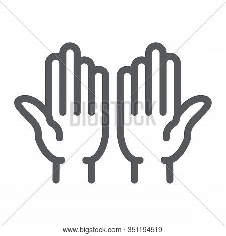 Islamic Prayer Line Icon, Islam And Religion, Prayer Hands Sign, Vector Graphics, A Linear Pattern O