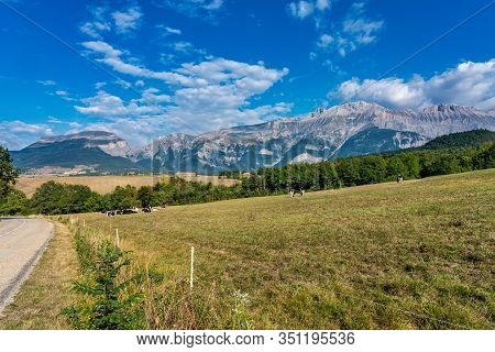Landscape At Saint Baudille Et Pipet, Trieves In Vercors, French Alps, France