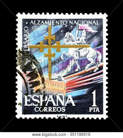 Cancelled Postage Stamp Printed By Spain, That Promotes National Uprising, Circa 1964.