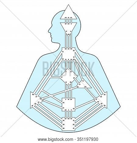 Human Design Chart, Or Bodygraph. Energy Centers, Channels And Gates Blank Template, Vector Illustra
