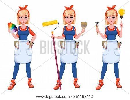 Painter Woman, Set Of Three Poses. Beautiful Lady Painter Cartoon Character. Stock Vector Illustrati