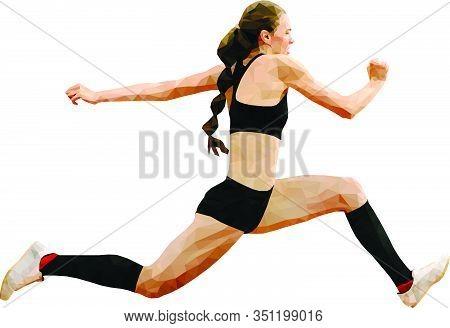 Woman Athlete Jumping Triple Jump Polygon Vector
