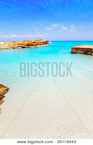 Es Calo de San Agusti port in Formentera island of Balearic Mediterranean poster