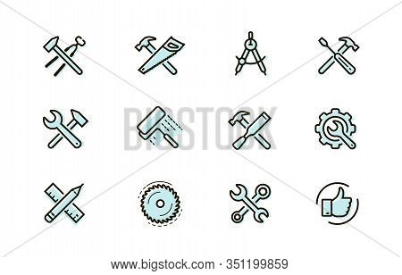 Tools Icon Set. Industry, Building, Repair Symbol. Vector