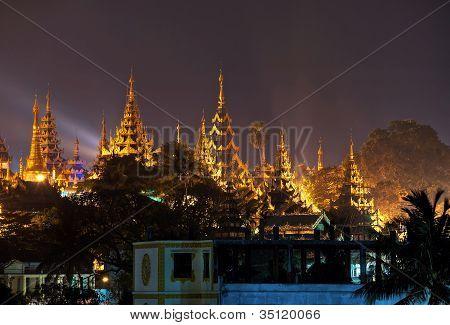 pagoda courtyard at night